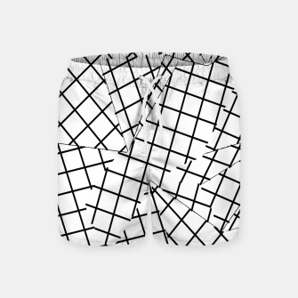 Thumbnail image of geometric square shape line pattern abstract background in black and white Swim Shorts, Live Heroes