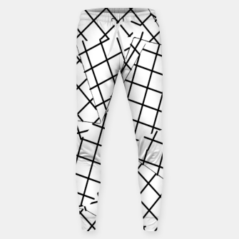 Thumbnail image of geometric square shape line pattern abstract background in black and white Sweatpants, Live Heroes