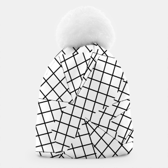 Thumbnail image of geometric square shape line pattern abstract background in black and white Beanie, Live Heroes