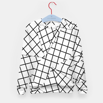 Thumbnail image of geometric square shape line pattern abstract background in black and white Kid's sweater, Live Heroes