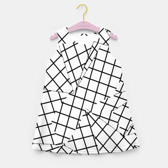Thumbnail image of geometric square shape line pattern abstract background in black and white Girl's summer dress, Live Heroes