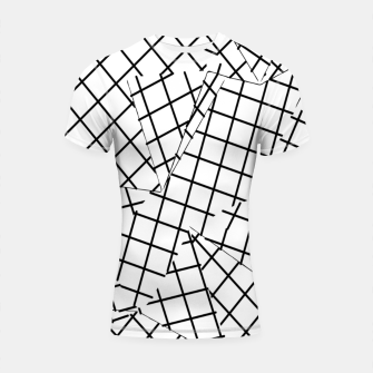 Thumbnail image of geometric square shape line pattern abstract background in black and white Shortsleeve rashguard, Live Heroes