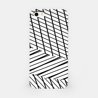 Thumbnail image of geometric square shape line abstract pattern in black and white iPhone Case, Live Heroes