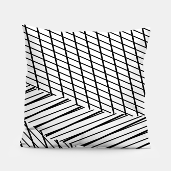 Thumbnail image of geometric square shape line abstract pattern in black and white Pillow, Live Heroes