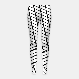 Thumbnail image of geometric square shape line abstract pattern in black and white Girl's leggings, Live Heroes