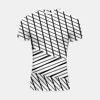 Thumbnail image of geometric square shape line abstract pattern in black and white Shortsleeve rashguard, Live Heroes