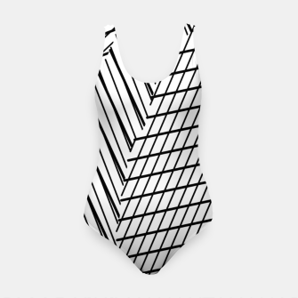Thumbnail image of geometric square shape line abstract pattern in black and white Swimsuit, Live Heroes