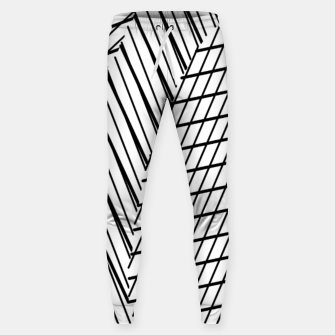 Thumbnail image of geometric square shape line abstract pattern in black and white Sweatpants, Live Heroes
