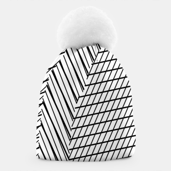 Thumbnail image of geometric square shape line abstract pattern in black and white Beanie, Live Heroes