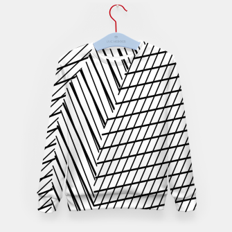 Thumbnail image of geometric square shape line abstract pattern in black and white Kid's sweater, Live Heroes