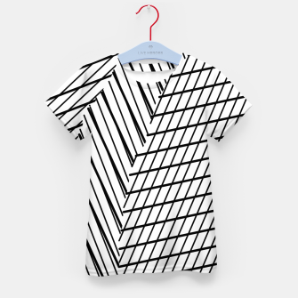 Thumbnail image of geometric square shape line abstract pattern in black and white Kid's t-shirt, Live Heroes