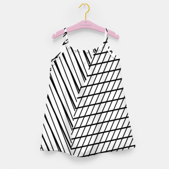 Thumbnail image of geometric square shape line abstract pattern in black and white Girl's dress, Live Heroes