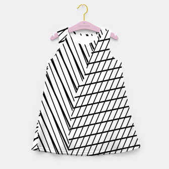 Thumbnail image of geometric square shape line abstract pattern in black and white Girl's summer dress, Live Heroes