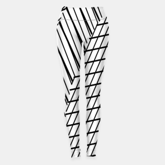 Thumbnail image of geometric square shape line abstract pattern in black and white Leggings, Live Heroes