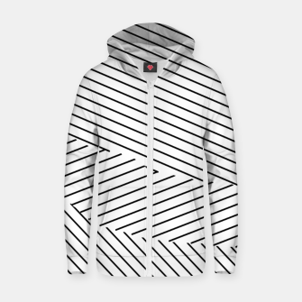 Thumbnail image of geometric line pattern abstract background in black and white Zip up hoodie, Live Heroes