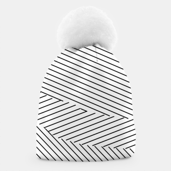 Thumbnail image of geometric line pattern abstract background in black and white Beanie, Live Heroes
