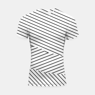 Thumbnail image of geometric line pattern abstract background in black and white Shortsleeve rashguard, Live Heroes