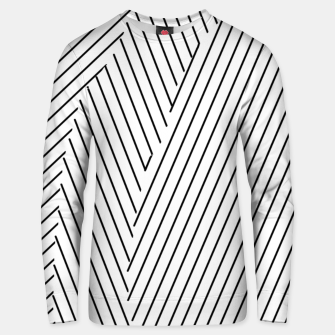 Thumbnail image of geometric line pattern abstract background in black and white Unisex sweater, Live Heroes
