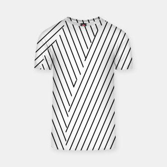 Thumbnail image of geometric line pattern abstract background in black and white T-shirt, Live Heroes