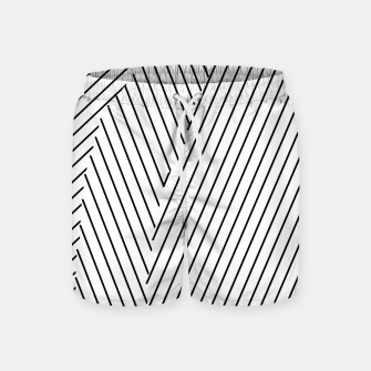 Thumbnail image of geometric line pattern abstract background in black and white Swim Shorts, Live Heroes