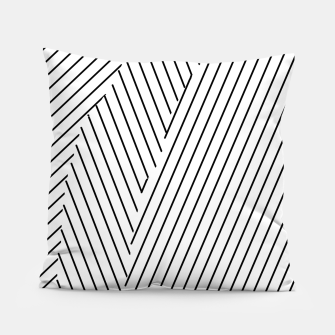 Thumbnail image of geometric line pattern abstract background in black and white Pillow, Live Heroes