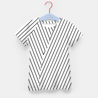 Thumbnail image of geometric line pattern abstract background in black and white Kid's t-shirt, Live Heroes