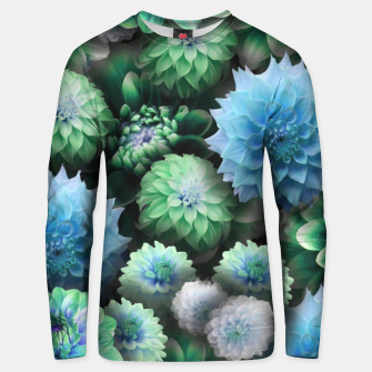 Thumbnail image of Blue Green Dahlias Unisex sweater, Live Heroes