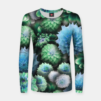Thumbnail image of Blue Green Dahlias Women sweater, Live Heroes