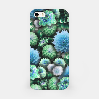 Thumbnail image of Blue Green Dahlias iPhone Case, Live Heroes