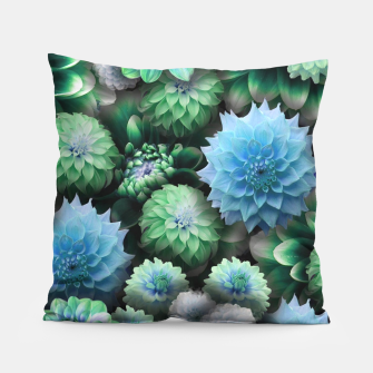 Thumbnail image of Blue Green Dahlias Pillow, Live Heroes
