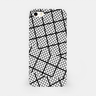 Thumbnail image of geometric square shape line pattern abstract background in black and white iPhone Case, Live Heroes