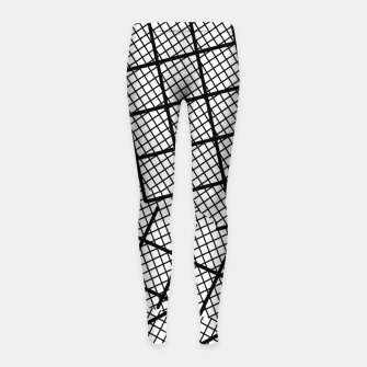 Thumbnail image of geometric square shape line pattern abstract background in black and white Girl's leggings, Live Heroes