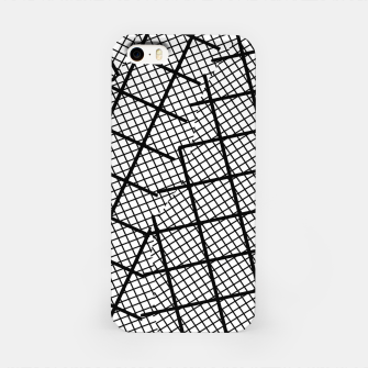 Miniaturka geometric square shape line pattern abstract background in black and white iPhone Case, Live Heroes