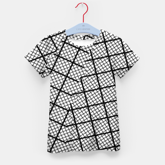 Thumbnail image of geometric square shape line pattern abstract background in black and white Kid's t-shirt, Live Heroes