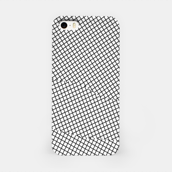 Thumbnail image of geometric square shape line pattern abstract in black and white iPhone Case, Live Heroes