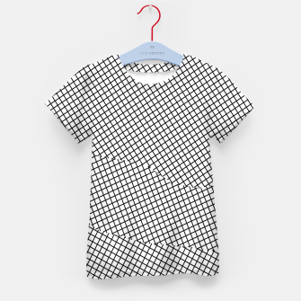 Thumbnail image of geometric square shape line pattern abstract in black and white Kid's t-shirt, Live Heroes