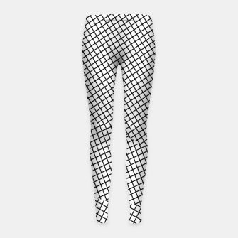 Thumbnail image of geometric square shape line pattern abstract in black and white Girl's leggings, Live Heroes