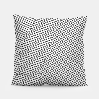 Thumbnail image of geometric square shape line pattern abstract in black and white Pillow, Live Heroes