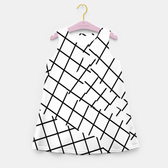 Thumbnail image of geometric square shape pattern abstract background in black and white Girl's summer dress, Live Heroes