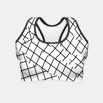 Thumbnail image of geometric square shape pattern abstract background in black and white Crop Top, Live Heroes