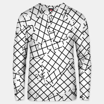 Thumbnail image of geometric square shape abstract background in black and white Unisex sweater, Live Heroes