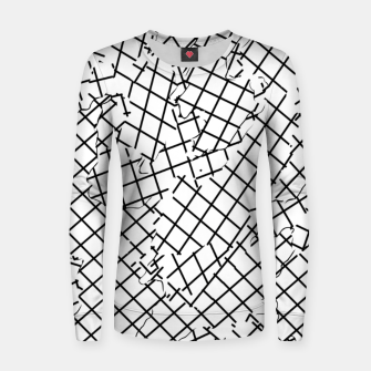 Thumbnail image of geometric square shape abstract background in black and white Women sweater, Live Heroes