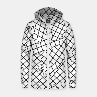 Thumbnail image of geometric square shape abstract background in black and white Zip up hoodie, Live Heroes