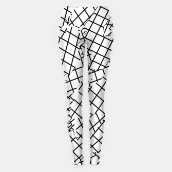 Thumbnail image of geometric square shape abstract background in black and white Leggings, Live Heroes