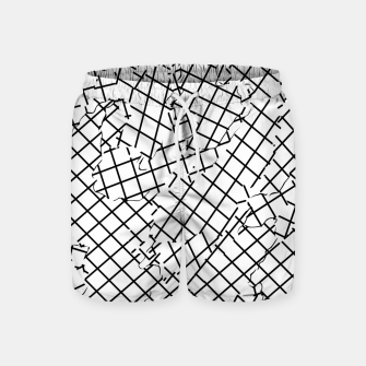 Thumbnail image of geometric square shape abstract background in black and white Swim Shorts, Live Heroes