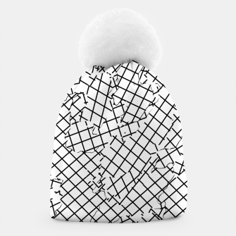 Thumbnail image of geometric square shape abstract background in black and white Beanie, Live Heroes