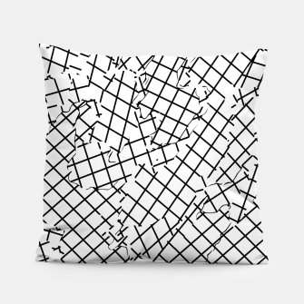 Thumbnail image of geometric square shape abstract background in black and white Pillow, Live Heroes