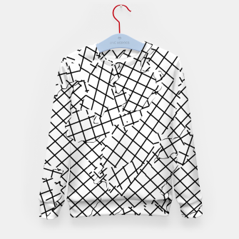 Thumbnail image of geometric square shape abstract background in black and white Kid's sweater, Live Heroes