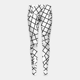 Thumbnail image of geometric square shape abstract background in black and white Girl's leggings, Live Heroes