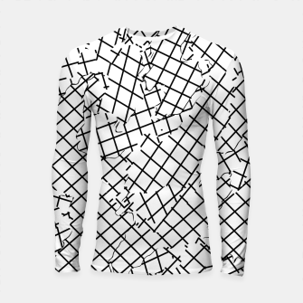 Thumbnail image of geometric square shape abstract background in black and white Longsleeve rashguard , Live Heroes